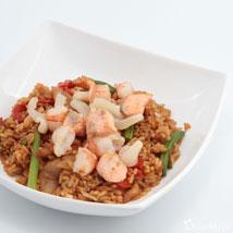 Рис жареный с морепродуктами + овощи