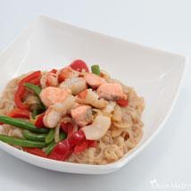 Харусаме (рисовая) с морепродуктами в соусе терияки + овощи